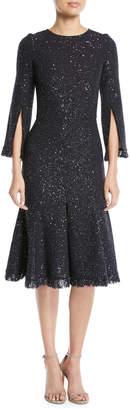 Slit-Sleeve Sequin Cocktail Dress