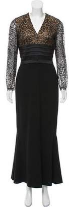Carmen Marc Valvo Lace-Accented Evening Dress