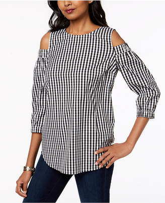 Charter Club Gingham Cold-Shoulder Tunic, Created for Macy's