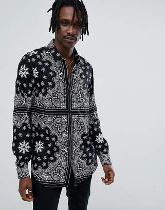 Asos DESIGN regular fit longline viscose shirt with bandana print