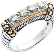 Effy Sterling Silver, 18K Yellow Gold & Green Amethyst Ring