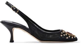 Dolce & Gabbana Embellished Mesh And Leather Slingback Pumps - Black