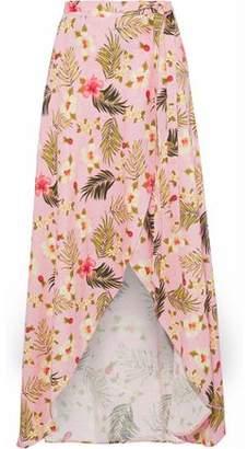 Miguelina Ballerina Floral-Print Linen Wrap Skirt