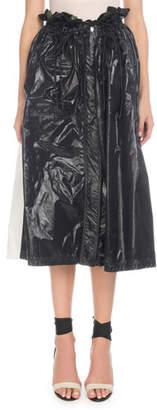 Proenza Schouler Paperbag-Waist A-Line Shiny Nylon Midi Skirt