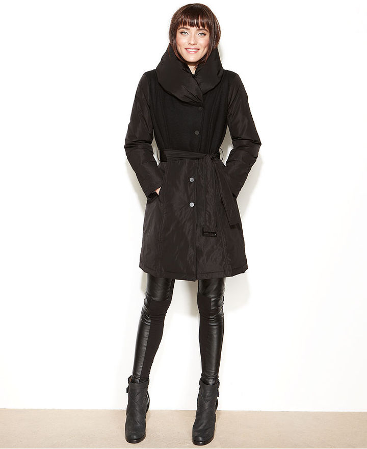 Kenneth Cole Reaction Mixed-Media Wool-Blend Puffer Coat
