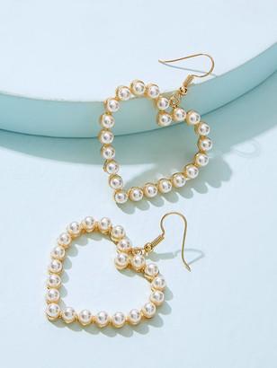 Shein Faux Pearl Overlay Heart Drop Earrings 1pair