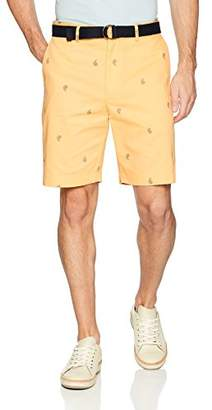 Savane Men's Flat Front All Over Mini Print Short with Belt