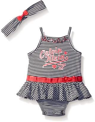 Calvin Klein Baby Girls' Stripe Jersey Sunsuit with Headband