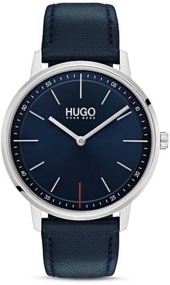 HUGO #EXIST Blue Leather Watch, 40mm