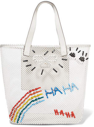 Anya Hindmarch Leather-trimmed Embroidered Mesh Tote - Off-white