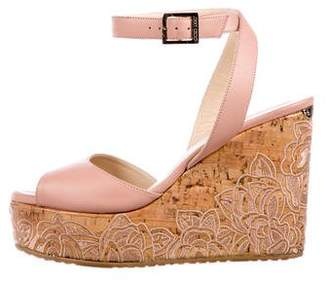 Jimmy Choo Leather Wrap-Around Wedges