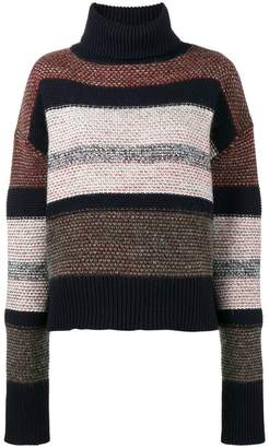 Chloé knitted striped chunky turtle neck