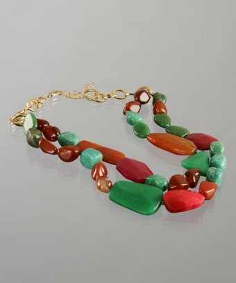 A.V. Max green double layered stone necklace