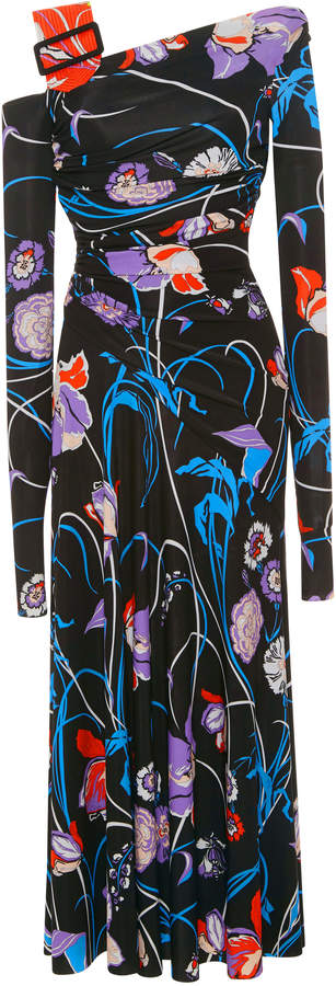 Emilio Pucci Printed Asymmetric Stretch-Jersey Dress