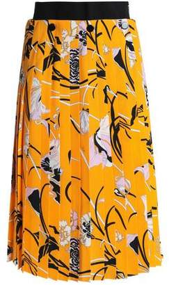 Emilio Pucci Pleated Floral-Print Crepe Skirt