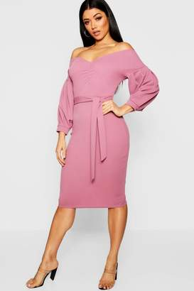boohoo Florence Off the Shoulder Midi Dress