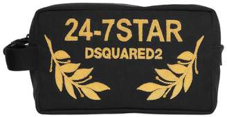 DSQUARED2 Logo Embroidered Canvas Toiletry Bag