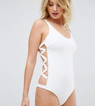 Wolfwhistle Wolf & Whistle Ribbed Lace Up Side Swimsuit DD - G Cup