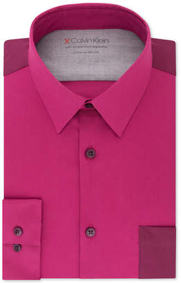 Calvin Klein Men's Extra-Slim Fit Performance Stretch Temperature-Regulating Colorblocked Dress Shirt
