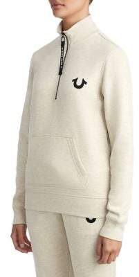 True Religion WOMENS CRYSTAL EMBELLISHED BUDDHA FLEECE PULLOVER