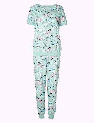 Marks and Spencer Cotton Rich Unicorn Short Sleeve Pyjama Set