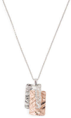 Made In Italy Sterling Silver Two Tone Hammered Necklace