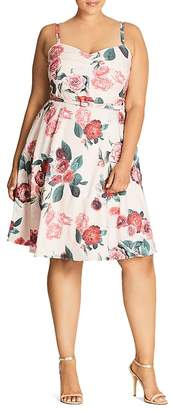 City Chic Pleated Floral Print Dress