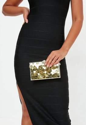 Missguided Gold Disco Glitter Clutch, Gold