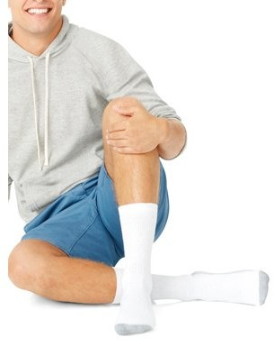 Hanes Men's Big & Tall Cushion FreshIQ Ankle Socks 6 Pack, Size 12-14