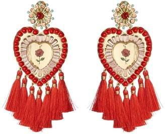 Mercedes Salazar Tassel Heart Clip On Earrings
