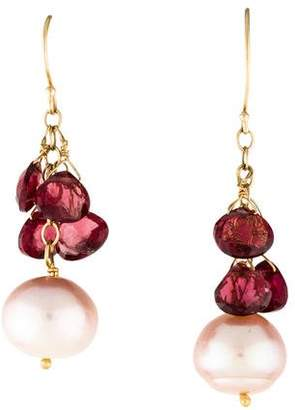 14K Pearl & Garnet Drop Earrings