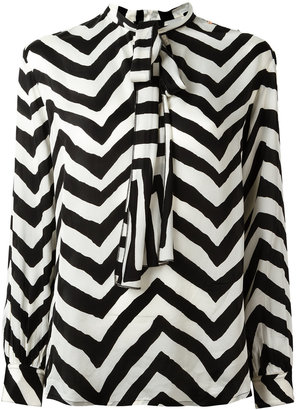 Diesel chevron pussy-bow blouse $178.45 thestylecure.com