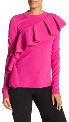 Diane von Furstenberg Long Sleeve Ruffle Front Pullover