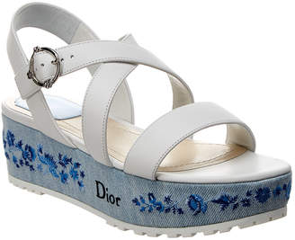 Christian Dior Leather & Denim Platform Wedge Sandal