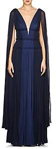 J. Mendel Women's Cape-Sleeve Silk Plissé Gown - Blue
