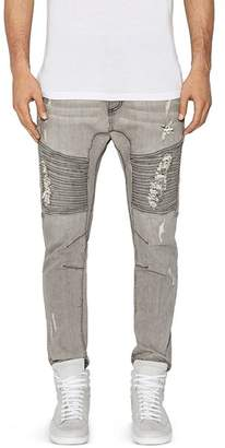 NXP Destroyer Moto New Tapered Fit Jeans in Wolf Gray