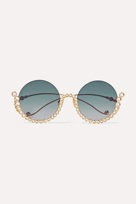 Karlsson Anna-Karin Full Moon Round-frame Crystal-embellished Gold-plated Sunglasses - Blue