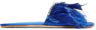 Miu Miu Feather-trimmed Embellished Satin Slides - Blue