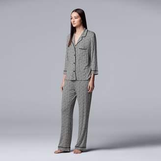 0c94aeb848 Vera Wang Women s Simply Vera Notch Collar Shirt   Pants Pajama Set