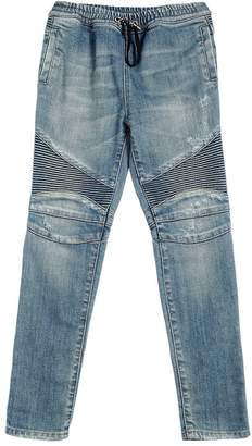 Balmain Drawstring Stretch Denim Biker Jeans