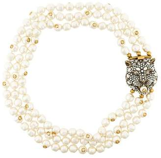 Gucci Feline motif pearl necklace