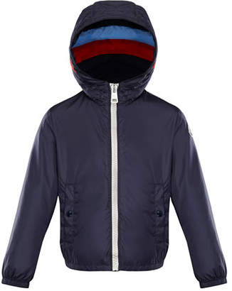 Moncler Camarsac Lightweight Down Jacket w/ Colorblock Hood, Size 8-14