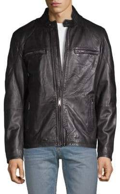 Rogue Mockneck Leather Moto Jacket