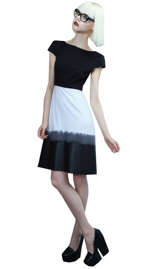 Alice + Olivia Lexi Ombre Skirt A-line Dress With Belt
