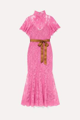 Erdem Celestina Satin-trimmed Cotton-blend Lace Gown - Pink