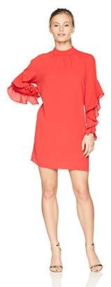 Maggy London Women's Petite Crepe Novelty Dress with Sleeve and Neck Shirring