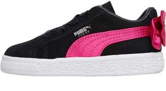 9d568ffd040 Puma Infant Girls Suede Bow AC Trainers Black Pink