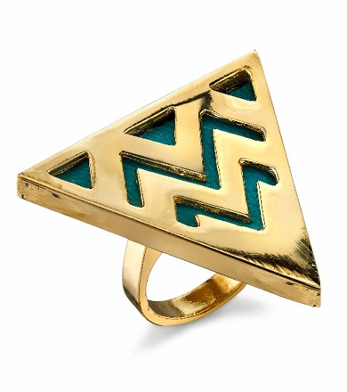 House Of Harlow Triangle Cocktail Ring in Turquoise