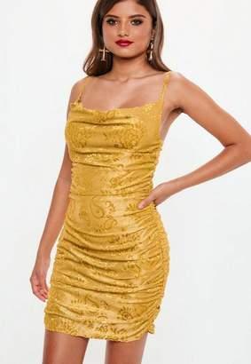 Missguided Mustard Devore Cowl Mini Dress