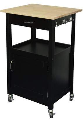 Charlton Home Jordan Kitchen Island Cart with Natural Wood Top Base